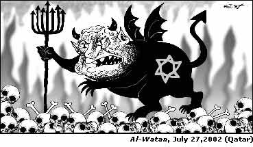 A Jewish devil - possibly Ariel Sharon - walks over the skulls of its victims